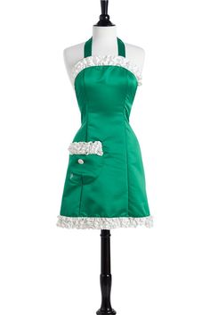 Green Satin Antoinette Apron