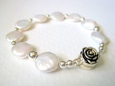 White Coin Pearl Bracelet  Rose Clasp  by JemsbyJBandCompany, $36.00