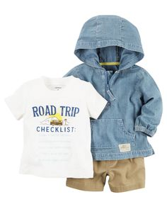 Complete with an on-trend windbreaker and coordinating shorts, this soft 3-piece set is perfect for spring.