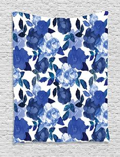 Ambesonne Flower House Decor Collection, Lively Watercolor Painted Simplistic Large Flowers and Leaves Bright Spring, Bedroom Living Room Dorm Wall Hanging Tapestry, White Royal Blue * Continue to the product at the image link.