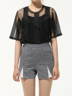 arche reve Stripe Mesh Top