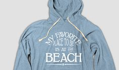Beach Hooded Tee with Pockets, My Favorite Place To Be Is The Beach