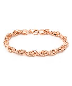 Loving this Rose Gold Twisted Popcorn Chain Bracelet on #zulily! #zulilyfinds