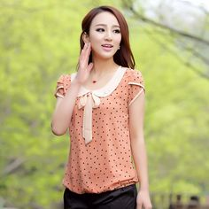 2014 New Women Summer Chiffon Shirt Short Sleeves Female Loose ...
