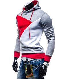 MEN SPLICE FLEECE HOODED SWEATSHIRT