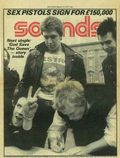 The Sex Pistols on cover of sounds magazine.