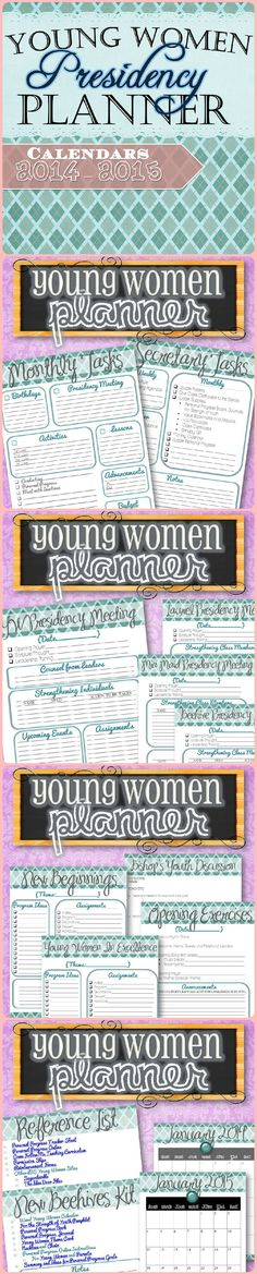 {FREE Downloads and Covers} Make managing all the responsibilities and tasks in the LDS Young Women's Program simple and easy with checklists, task lists, BYC, New Beehive Kit and YW Reference Lists. 2014-2015 Calendar included!
