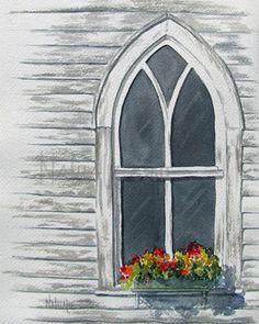 Watercolor Original Church Window Shabby by NathalieKelleysArt, $175.00