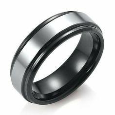 R&B Joyas - Alianza hombre, tungsteno 2 colores, anillo 7mm, talla 14, color plateado negro: Amazon.es: Joyería