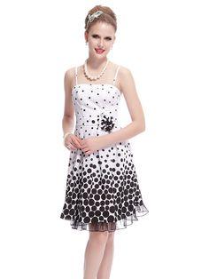 2bd2d98d8 Black and white polka dot party dress with spaghetti straps Polka Dot Party  Dresses, Junior