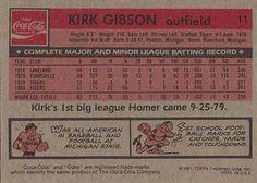 1981 Coca-Cola Detroit Tigers #11 Kirk Gibson  Back