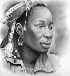 Rita Marley by Marcus Kwame  graphite pencil on paper