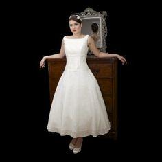 Simple Tea Length Wedding Dress With High Neck Dropped Waist