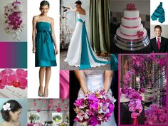 fuchsia and teal wedding colours