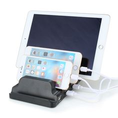 4 Ports Desktop Charging Station Fast Charger Quick USB Charger Dock Station With Stand Holder For Cellphone Tablet