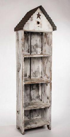 Bird House Shelf - 5 ft - x x Barn Wood Crafts, Barn Wood Projects, Pallet Crafts, Primitive Furniture, Rustic Furniture, Diy Furniture, Industrial Furniture, Furniture Design, Outdoor Furniture