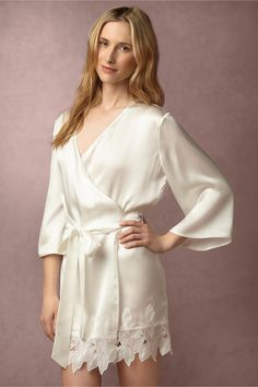 BHLDN Brixton Silk Robe in  Bride Bridal Lingerie at BHLDN