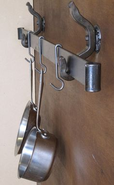 pot rack rail to wall