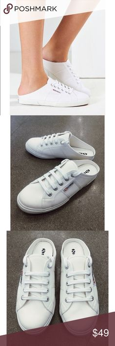 Superga Slip on Mules Cute and casual Superga white canvas slide ons. Pair with jeans and a T-shirt or a comfy dress. Never Worn. True to size. Superga Shoes Sneakers
