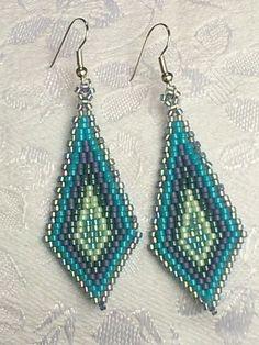 Sea blue green geometric beadwork long by OdesiaMayJewellery, £13.00