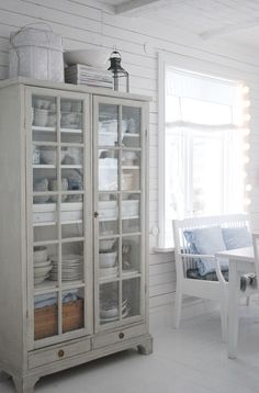 20 Dining Room Storage Ideas is part of Dining cabinet French Linens - Dining room cabinet storage is a must! First you have to decide if you want a feature piece do you have something you can upgrade, paint or add to if its not… Cocina Shabby Chic, Shabby Chic Kitchen, Kitchen Decor, Kitchen Hutch, Kitchen Dining, Kitchen Ideas, Kitchen White, Glass Kitchen, Dining Room Storage