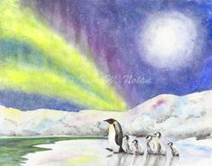 Penguin painting Emperor penguins Aurora borealis by StudioKWN. An enchanting painting of an Emperor penguin leading her chicks through an Arctic landscape under a starry night sky lit up by the Northern lights. This gorgeous piece of wall art will add a touch of magic to any room.
