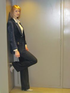 a second glance.: Thrifted navy suede blazer - two days, two ways