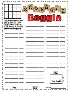 This Is A Boggle Worksheet With Scoring Guide For Use With A