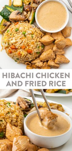 This recipe is a full hibachi chicken dinner at home! With restaurant-style sautéed veggies, fried rice, and super tender chicken, this hibachi recipe is served with a spicy mustard dipping sauce that really transports you to the Japanese steakhouse! Rice Recipes, Asian Recipes, Japanese Recipes, Dinner Recipes With Rice, Recipies, Good Easy Dinner Recipes, Diabetic Dinner Recipes, Birthday Dinner Recipes, Best Dinner Recipes Ever