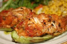 Shrimp and Crab Stuffed Mirlitons - Chayote squash, known in the Deep South as mirliton or vegetable pears, are steamed and then filled with a seafood stuffing.