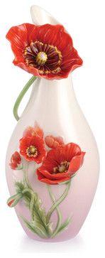 FRANZ PORCELAIN COLLECTION Glamorous Blossom Red Poppy Vase