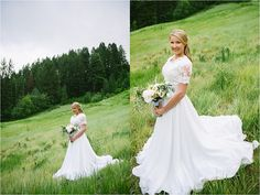 modest wedding gown with lace sleeves
