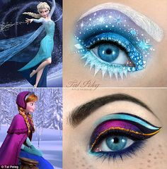 Frozen inspired eye makeup. Much too overdone, but I like the concept...