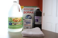 My new all-purpose cleaner is nothing more than equal parts distilled white vinegar and water in a spray bottle.  Borax: cleans toilet bowl and soap scum, baking soda: back up scrubbing agent and peroxide: gets rid of mold and mildew