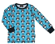 Kinder Langarm Shirt Pinguin Blau Maxomorra
