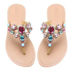 Shop for Austin sandal at shopmystique,com! Browse our selection of handmade jeweled and embellished multi-colored leather sandals. Sandals made with gemstones, rhinestones, and shells! Find your perfect pair! Leather Sandals Flat, Flat Sandals, Shoes Sandals, Bling Sandals, Sparkly Sandals, Pretty Sandals, Mystique Sandals, Leather Design, Cute Shoes