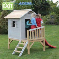 Exit Spielhaus Beach 300 Stelzenhaus mit Rutsche von APESA Montage, Shed, Outdoor Structures, Park, Outdoor Decor, Beach, Home Decor, Gray, Children's House
