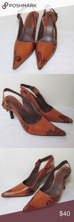"""New! Schutz Embossed Leather Slingbacks Gorgeous leather embossed with butterflies. Buckle straps, leather sole. Deep rich caramel color. 4"""" heel, no platform. Made in Brazil. SCHUTZ Shoes Heels"""