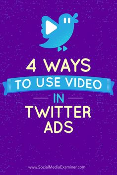 Do you want your Twitter ads to stand out?  Combining Twitter's large mobile audience with the power of video ads is a great way to get in front of your target audience.  In this article, you'll discover four ways to create Twitter video ads to promote your products and engage Twitter users. Via @smexaminer.
