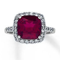 10K White Gold Lab-Created Ruby & Lab-Created Sapphire Ring--- My engagement ring!