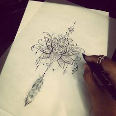 Desenho Lotus com pena #black #temporada #searchtattoo #SP #pinheiros #morceguinhatattoo searchtattoo@hotmail.com