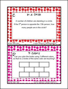 FREEBIE - Math Brain Teaser Cards - This math will make them think! Enjoy! :)