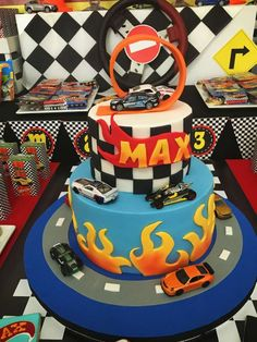 Cool cake at a Hot Wheels birthday party! See more party ideas at CatchMyParty.com!
