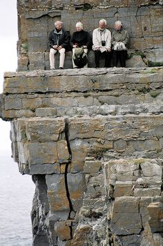 When I visited Ireland the little old men sat outside pubs with a pint or an Irish Coffee, listening to impromtu musicians. Things must have gone downhill since then. Or these guys are avoiding the 'to do list' their wives have for them.  Aran Islands, Ireland by Mark Heard, via Flickr