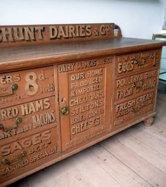 Victorian sign painted Dairy Pine Chiffonier from England - European Antiques Hand Painted Furniture, Repurposed Furniture, Antique Furniture, Diy Furniture, Painting Furniture, Furniture Projects, Old Country Stores, Signwriting, Vintage Typography