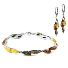 Sterling Silver Multicolor Amber Dreams Leverback Earrings Bracelet 7.5 Inches Set *** Check this awesome product by going to the link at the image.