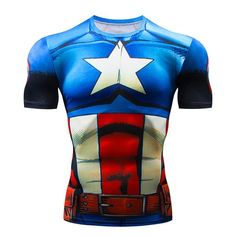 1257eef56 Marvel Superhero Captain America Compression shirt Base Layer for cycling