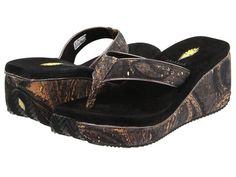 Volatile Mufasa Flip Flops Wedges Sandals Size 7 Black / Animal Printed