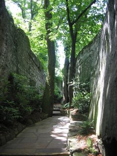 Cool, green, and shady - Rock City.  I have seen Rock City on Lookout Mountain, TN several times too!