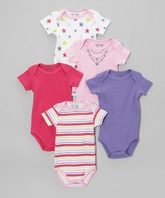 Take a look at this Pink & Purple Star Bodysuits Set by Luvable Friends on #zulily today!